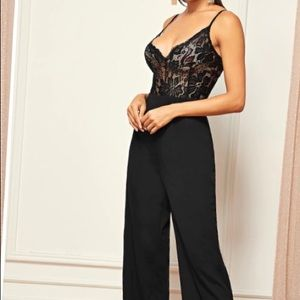 NWT Sheer lace bodice straightleg cami Jumpsuit XS